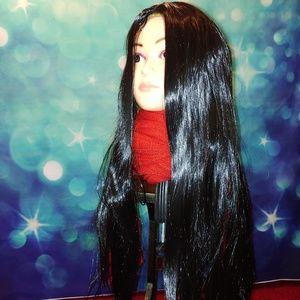 Long straight black wig #615